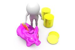 3d man piggy bank concept Stock Image