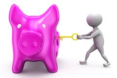 3d man piggy bank lock concept Royalty Free Stock Images
