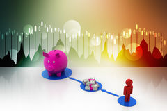 3d man with piggy bank savings Stock Image
