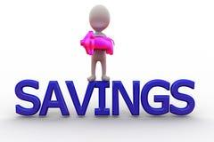 3d man piggy bank savings concept Stock Photos