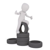 3D man on pile of tyres. Faceless grey 3D man sitting over pile of car tyres, with thumbs up gesture, render isolated on white background Royalty Free Stock Photography