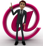 3d man with pink email icon concept Royalty Free Stock Photography