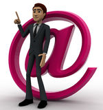 3d man with pink email icon concept Stock Images
