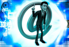 3d man with pink email icon illustration Royalty Free Stock Photo