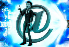 3d man with pink email icon illustration Royalty Free Stock Photos