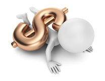 3d man pinned down by dollar sign. On white background Stock Photo
