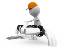 3d man pipe concept Royalty Free Stock Photo