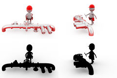 3d man pipe repair concept collections with alpha and shadow channel Royalty Free Stock Photos