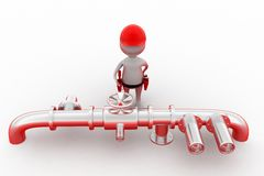3d man pipe repair concept Stock Photography