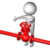 3D Man with pipeline with valve. 3D rendering. Stock Images