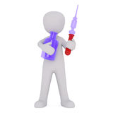 3D man with pipette and jar Royalty Free Stock Photos