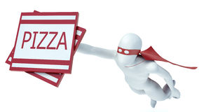 3d man, pizza delivery. On white Stock Photography