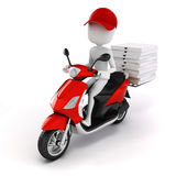 3d man, pizza delivery. On white background Stock Images