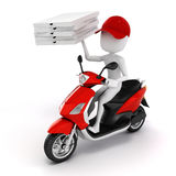 3d man, pizza delivery. On white background Royalty Free Stock Photography