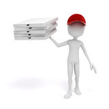 3d man, pizza delivery. On white background Royalty Free Stock Images
