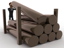 3d man placing big timbers on storage concept Royalty Free Stock Image