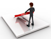 3d man placing and fixing red arrow on  floor concept Stock Photography