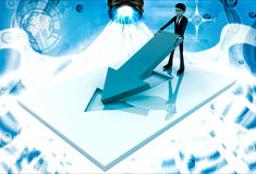 3d man placing and fixing red arrow on  floor illustration Royalty Free Stock Photography