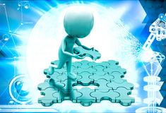 3d man placing last pecies of jigsaw puzzle illustration Royalty Free Stock Photography