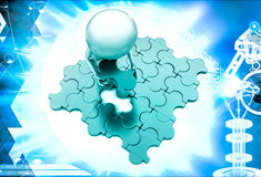 3d man placing last pecies of jigsaw puzzle illustration Royalty Free Stock Image