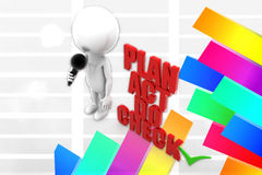 3d Man Plan Act Do Check  illustration Royalty Free Stock Photography