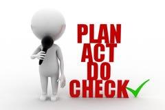 3d Man Plan Act Do Check Royalty Free Stock Image
