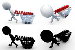 3d man plan ahead concept collections with alpha and shadow channel Royalty Free Stock Photo