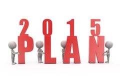 3d man plan of 2015 concept Royalty Free Stock Image