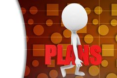 3D man plan illustration Royalty Free Stock Photography