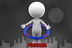3d man plan process illustration Royalty Free Stock Photos