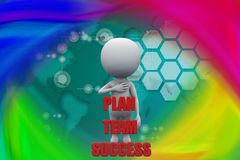 3d man plan team success illustration Royalty Free Stock Images