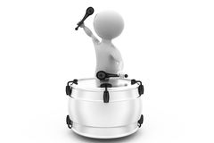 3d man play drum concept Royalty Free Stock Images
