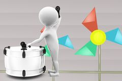 3d man play drum illustration Stock Images