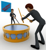 3d man play drum to advertise shopping festival concept Royalty Free Stock Photos