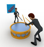 3d man play drum to advertise shopping festival concept Stock Photos