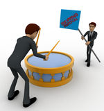 3d man play drum to advertise shopping festival concept Stock Photography
