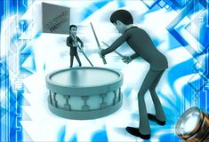 3d man play drum to advertise shopping festival illustration Royalty Free Stock Photo
