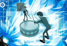3d man play drum to advertise shopping festival illustration Stock Photo