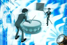 3d man play drum to advertise shopping festival illustration Stock Photos
