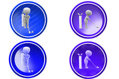 3d man play golf icon Stock Images