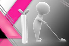 3d man play golf illustration Stock Photo