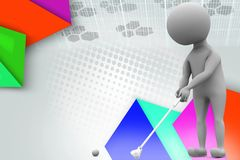 3d man play golf illustration Royalty Free Stock Images