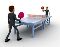 3d man play table tennis concept Stock Photography