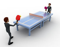 3d man play table tennis concept Royalty Free Stock Images