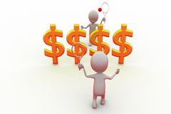 3d man play tennis with money net concept Royalty Free Stock Images