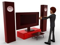 3d man play video game on big television with music system concept Royalty Free Stock Images