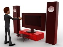 3d man play video game on big television with music system concept Royalty Free Stock Photos
