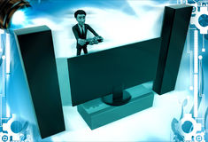 3d man play video game on big television with music system illustration Royalty Free Stock Photography
