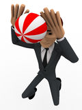 3d man play volley ball concept Royalty Free Stock Images