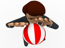3d man play volley ball concept Stock Image